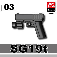 SG19 (W189) Black 9mm Pistol compatible with toy brick minifigures Army SWAT