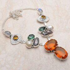 Honey Citrine Rainbow Moonstone Ethnic Handmade Necklace Jewelry 51 Gms AN 77601