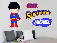 Personalised Superman - Wall Art Vinyl Sticker Super hero Superhero Comic Decals