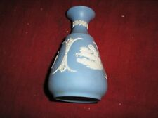 Wedgwood Jasperware White on Blue Bud Vase 5""