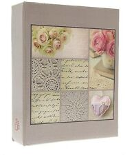 """Beautiful Slip In Photo Album Holds 300 6"""" x 4"""" Photos Great Gift Rosy Flower"""