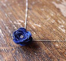 Rosa in Pelle Blu Ciondolo ~~ collana/Gioielli/Regalo/Rockabilly/3rd Anniversario