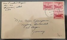 cover USA United States America U.S. Postage Airmail to Norway Bergen