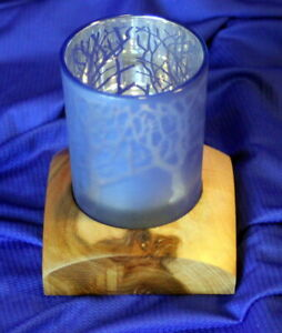 Beautiful Handcrafted Figured Oak and Glass Forest Tea Light Holder