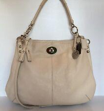 Coach 15405 Hamptons Hobo Handbag Extra-Large Ivory Genuine Leather silver