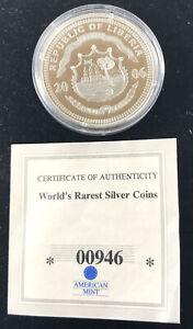 2006 Republic Of Liberia History Of America 20 Dollar Silver Proof Coin COA S133