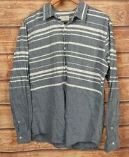 PD&C Mens Size Large Casual Shirt Long Sleeve Button Up Stripe Gray White