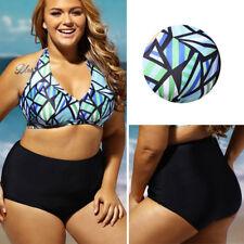 2019 2PC Black/Blue Triangular High Waist V Neck Top Bikini Bathing Suit XL-3XL