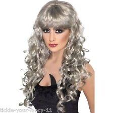 Womens Girls Silver Siren Wigs 80's Glamour Fancy Dress Outfit Wig Wonder Woman