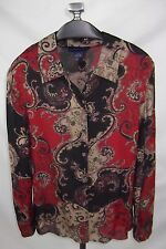 Charter Club Silk Blouse Top Size 12 Red Black Beige Paisley