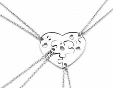 New 4 BEST FRIENDS Heart Shape Jigsaw Puzzle Pendants Necklace Friendship