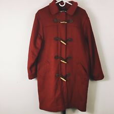 Vintage Ll Bean Hooded Wool Coat Jacket 10 Red Plaid Lining Toggles Usa Made