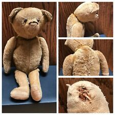 Antique Teddy Bear Early 1900's? Excelsior Stuffed Jointed Button Eyes,Humpback?