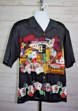 Chiliwear Short Sleeve Button Front Black Playing Cards Poker Chips Mens Shirt L