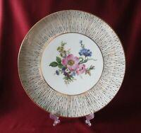 Porzellan - Kuchenplatte rund, Zierteller D. 29 cm., Blumen, Gold dekoriert.