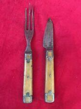 Vtg Civil War Era Flatware Small Knife Fork Bone Pewter