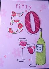 Happy 50th Birthday Card - Wine & Roses Theme by Just Write Cards.