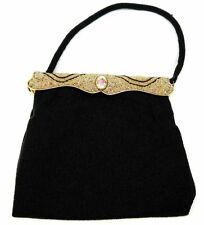 1940's Langlois & Jargeais Evening Purse with Strap / Pre-owned / Black Beaded