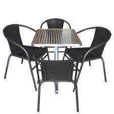 Bistrogarnitur Gartenmöbel Set Bistrotisch 60x60cm + 4x Rattan Stapelstuhl