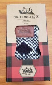 NEW Woolrich SMALL 6-8 Hand Knit Chalet Ankle Slipper Socks White Black Plaid