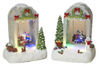 "7"" Christmas Snow Village Town City Scene Light Up Trellis Moving Swing Set"