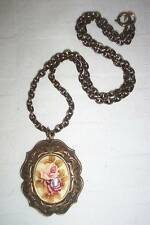 FLORAL CABACHON & VINTAGE BRASS CHAIN NECKLACE ~ NICE!