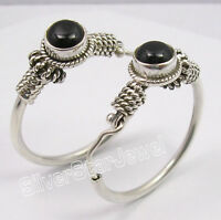 925 Sterling Silver Unseen BLACK ONYX TRIBAL ANTIQUE LOOK HOOP Earrings 1.2 Inch