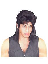 Mens 80's Black Mullet Wig Jason Donovan Classic Fancy Dress Costume Accessory