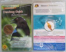 """Malaysia 25 sen 2005 """"Endangered Species - Asian Fairy Bluebird"""" UNC Coin Card"""