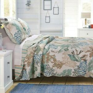 Twin Size Bedding Quilt Set Coastal Tropical Beachy Lightweight Reversible 3Pc