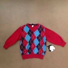GAP Red Argyle Pullover sweater 3T 3