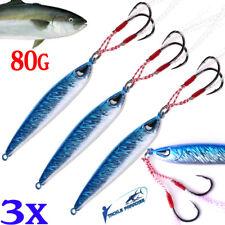 3x Metal Jigs Fishing Lure 80g Jig Lures Inchiku Snapper Jigging Micro Tuna Jew
