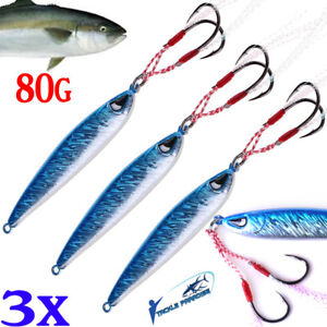 3x Metal Jigs Fishing Lure 80g Jig Lures Inchiku Snapper Jigging Micro Tuna Jew
