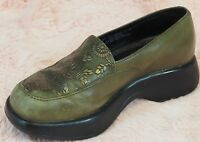 Dansko Clogs Loafers Shoes Womens 37/6.5-7 Slip Resistant Green Embossed Leather