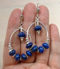 Smooth Blue Lapis Lazuli Hoop Sterling Silver Earrings   A1325
