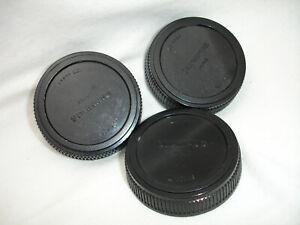 OLYMPUS OM mount rear lens cap, lot of 3 caps, ZUIKO 50 1.8 1.4 OM-1 OM-10 Japan