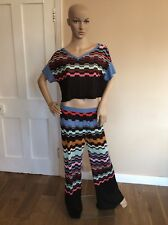 Missoni 2 Piece Outfit Set Size 38 Uk 10 Trousers & Crop Top Vgc Worn Once