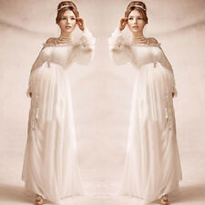 White Pregnant Womens Long Dresses Maternity Photography Props Clothing