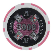 "25 ct Pink $5000 Five Thousand Dollars 5k ""Ace Casino"" Poker Chips 14g Laser Gfx"