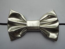 HEADBAND WITH SILVER PVC LEATHER 7 INCH BIG HAIR BOW LADIES NEW