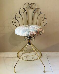 Vintage Pacsco Hollywood Regency Gold Metal Vanity Adjustable Swivel Chair