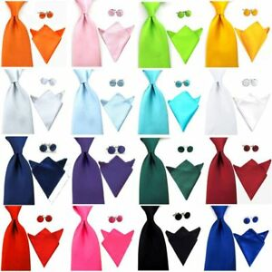 Men's Satin 8CM Wide Solid Neck Tie Pocket Square Handkerchief Cufflink Set NEW