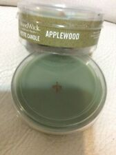 Woodwick Two (2) Applewood Petite Candles NEW! Green Yankee
