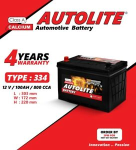 AUTOLITE CAR BATTERY TYPE 334 12V 100AH 4 YEAR WARRANTY
