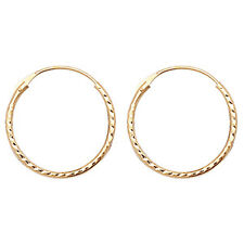 9ct Gold Ladies Sleeper Hoop Earrings - 12mm*12mm