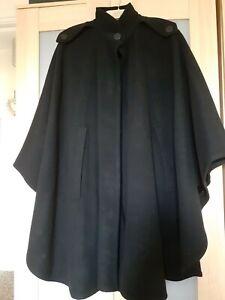 Black Pure Wool Military  style Cloak/cape