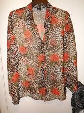 Maggie Barnes Leopard Brown/Orange Sheer V Neck Women's Tunic Top 22W
