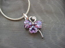 Sterling Silver Purple Pave Zircon Four Leaf Clover Charm Silver Necklace Gift