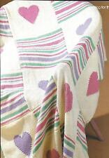 Vintage Knitting Pattern Hearts & Stripes blanket DK yarn throw afghan cute