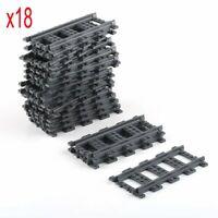 Pour LEGO 18pcs Train droite piste Railroad Rail Sans Alimentation Accessoires